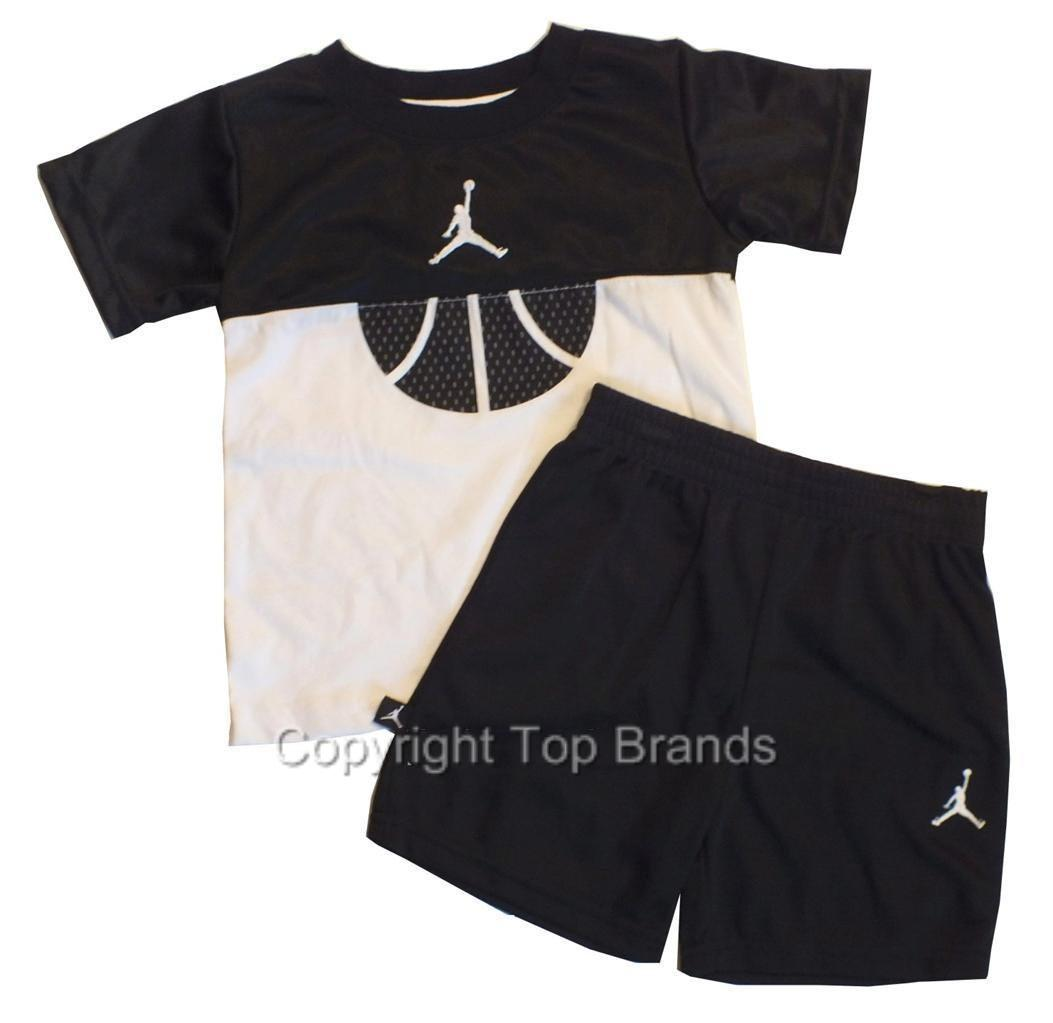 850531da5a0 Boys Toddler Nike Air Jordan Shirt Short Outfit Clothes 3T 4T Jersey Black  White