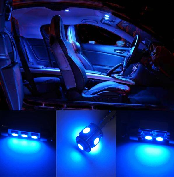8 Pcs Blue Led Smd Canbus Interior Light Kit For Vw Golf 4