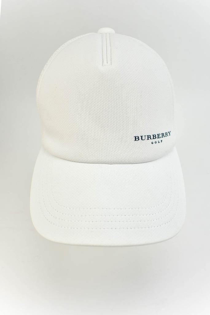 5e120d687230e BURBERRY Golf: White & Logo, Baseball/Golf Hat/Cap Sz: M/L - adjustable