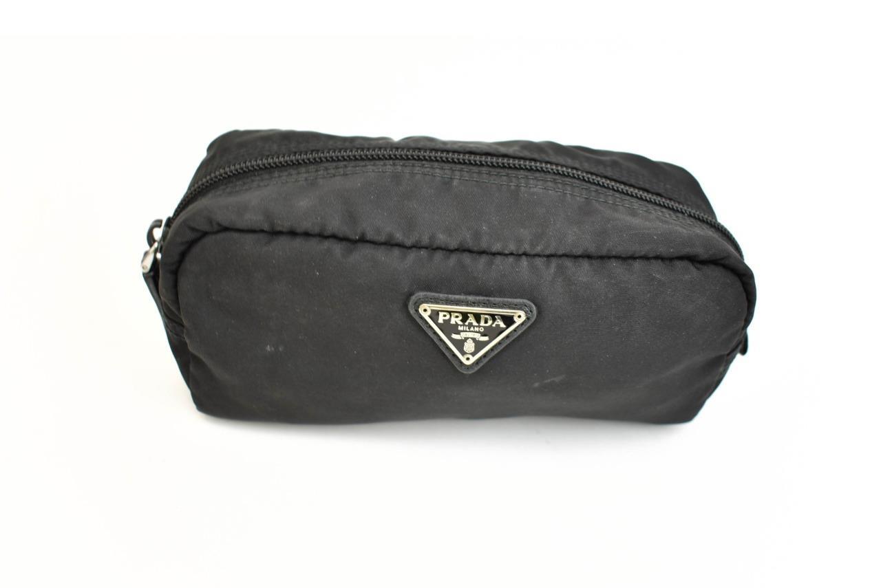 9f6af3c5dd8a78 Details about PRADA: Black, Vela Nylon & Logo Travel Organizer/Cosmetic Bag  (ox)