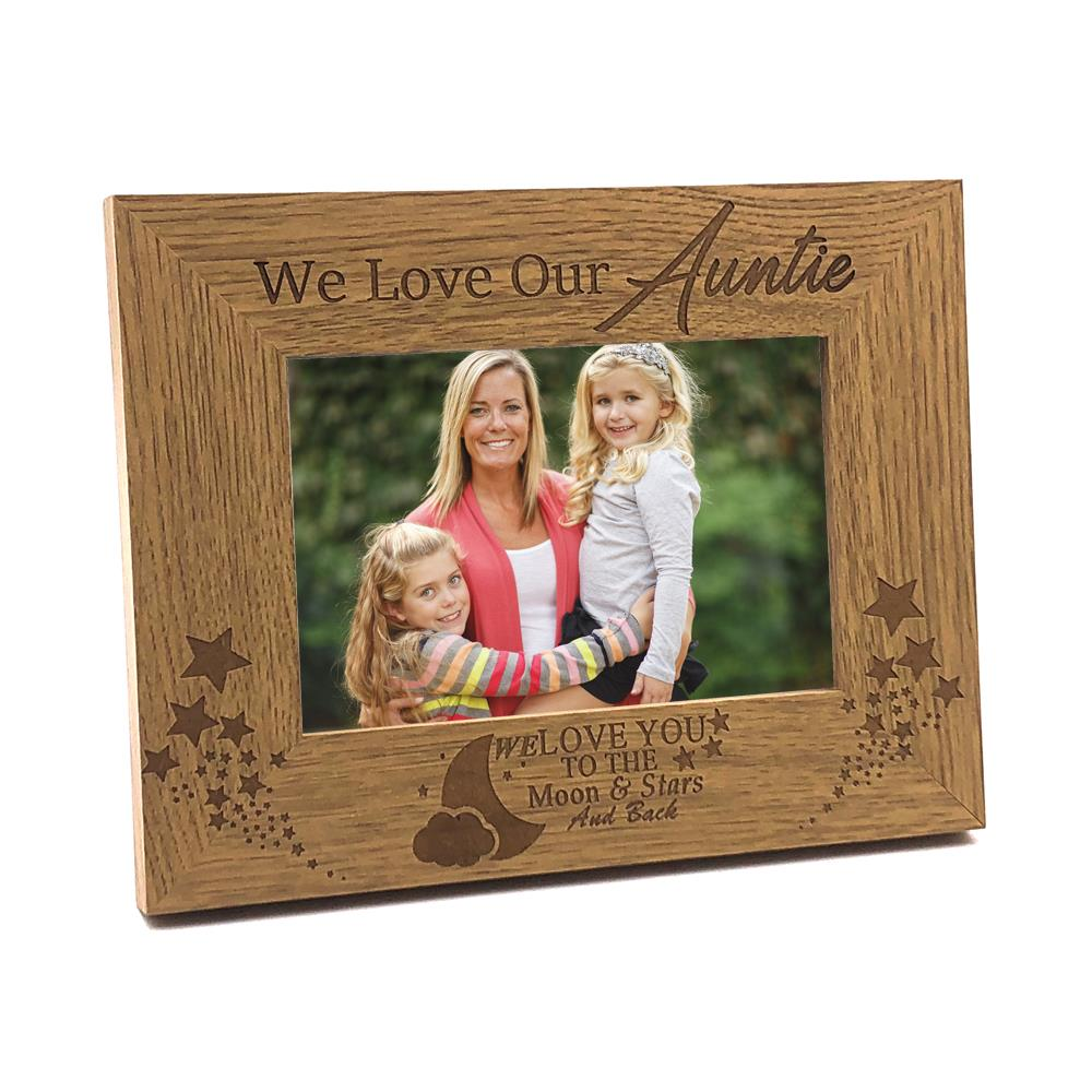 We Love Our Auntie To The Moon and Back Wooden Photo Frame Gift ...