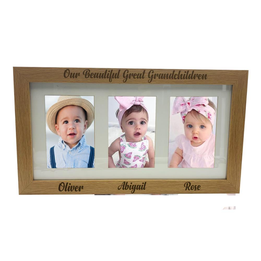 Great Grandchildren Personalised Triple picture photo frame 6\