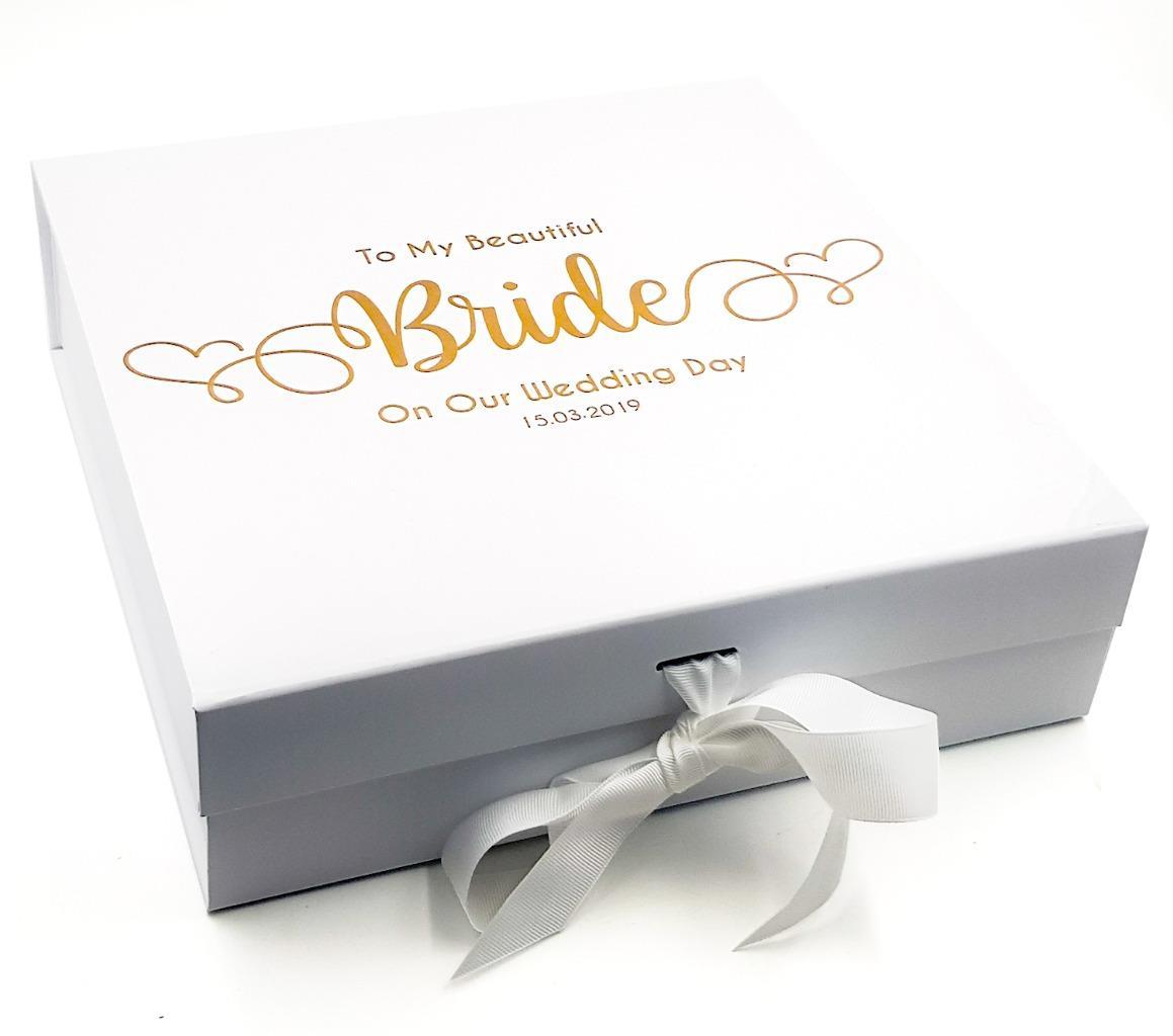 PERSONALISED WHITE BOX Ribbon Memory Box Birthday Gift KEEPSAKE Love PRESENT