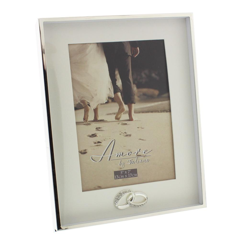 Wedding Gift Photo Frame: Amore Two Tone Silver Plated Rings Photo Frames Gifts For