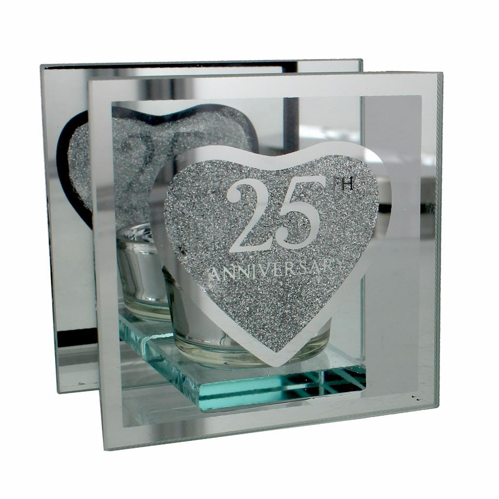 Silver Gift Items For Wedding: 25th Silver Wedding Anniversary Tea Light Holder Gift
