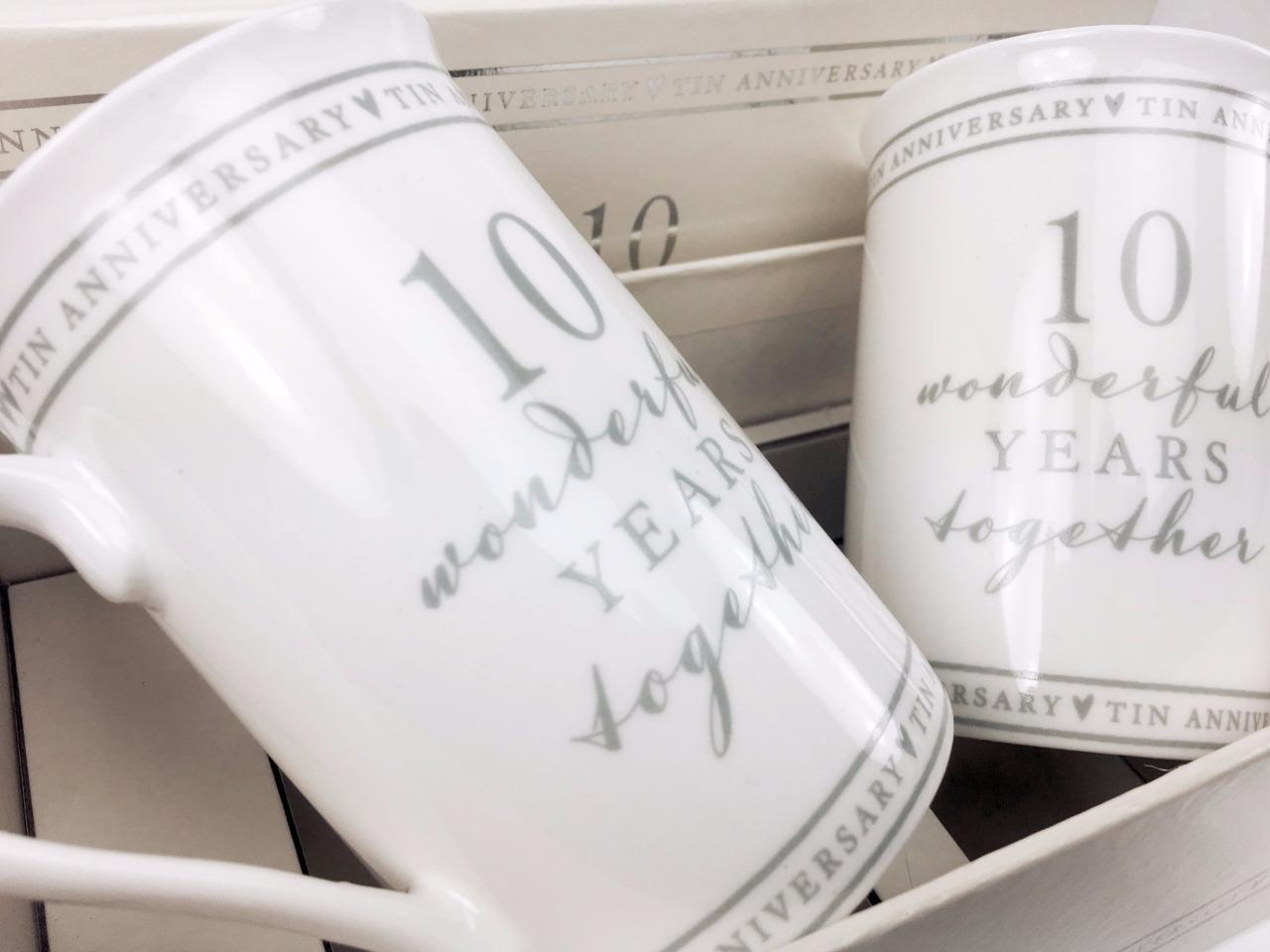 Tin Gifts For 10th Wedding Anniversary: 10th Tin Wedding Anniversary Gift Pair Of Sentiment Mugs
