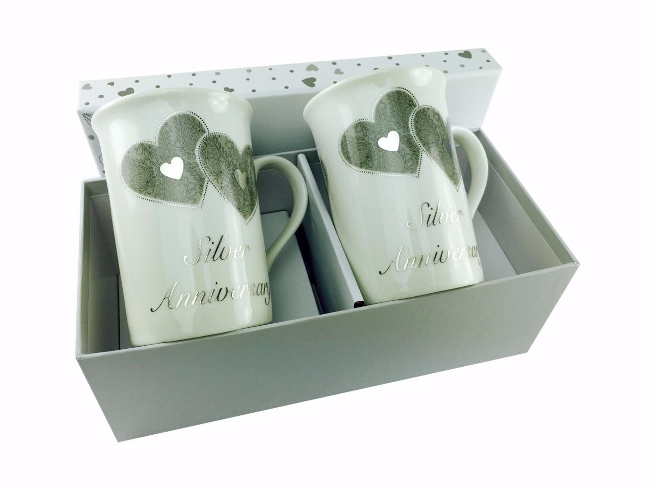 Gift Ideas For Silver Wedding Anniversary: Luxurious 25th Silver Wedding Anniversary Mug Set In Gift