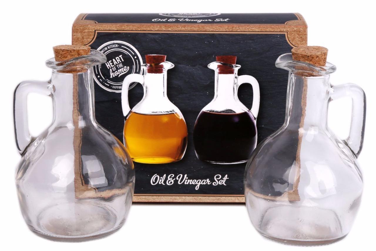 Set of 2 Glass 160ml Oil Balsamic Vinegar Dressing Dispenser Pourer Glass Bottle
