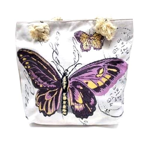 Traditional Colourful Tapestry Purple Butterfly Tote Bag 64179
