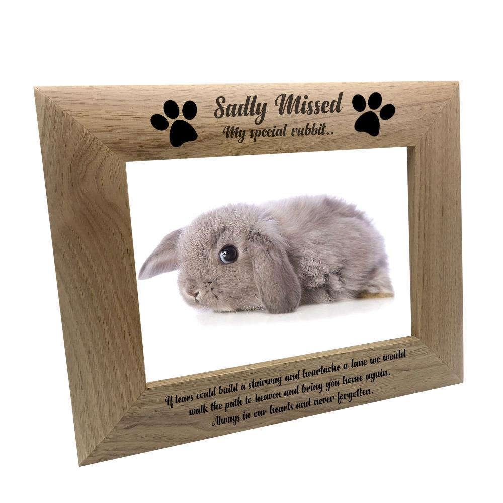 Sadly Missed Rabbit Remembrance Memorial Wooden Photo Frame FW78 | eBay