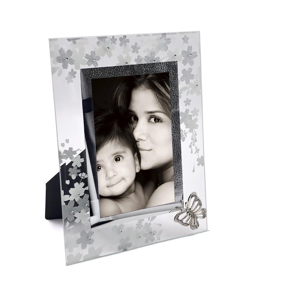 Beautiful Glass Butterfly Diamante and Flowers Glass Photo Frame 4 ...