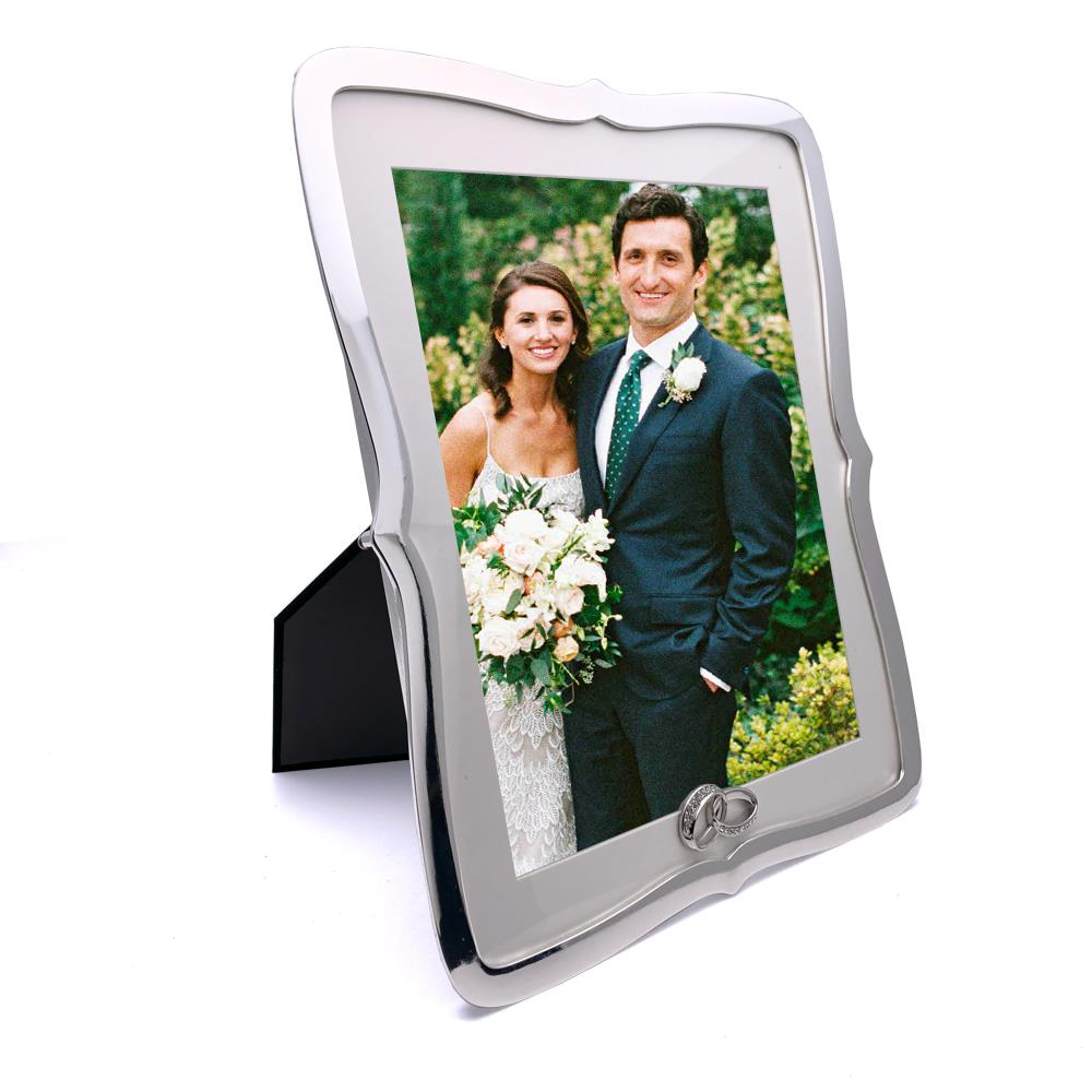 ukgiftstoreonline Beautiful Silver Plated Wedding Photo Picture Frame 4 x 4 and Gift Bag