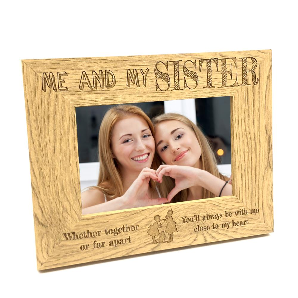 Together Or Far Apart Sisters Wooden Photo Frame Gift FW194