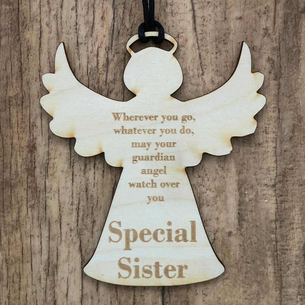 Special Sister Guardian Angel Wooden Plaque Gift Ang 25