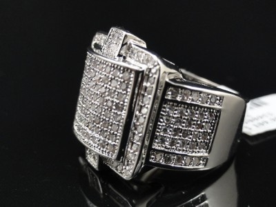 Mens New White Gold Finish Diamond Simulate Fashion Ring Size
