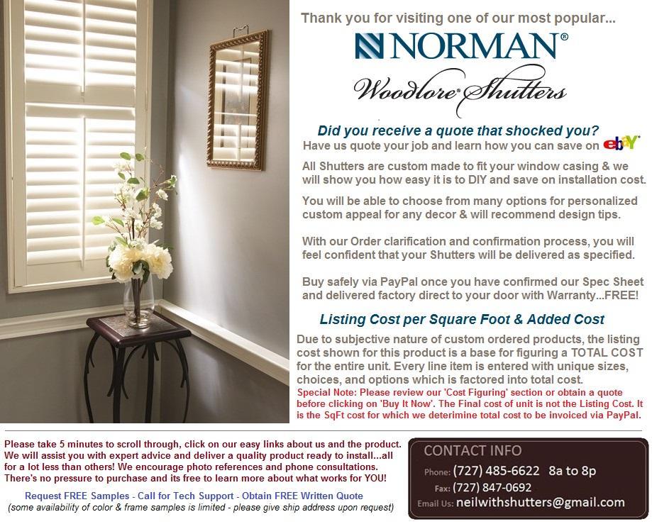 Custom Order NORMAN WOODLORE PLANTATION SHUTTERS - Cost ...