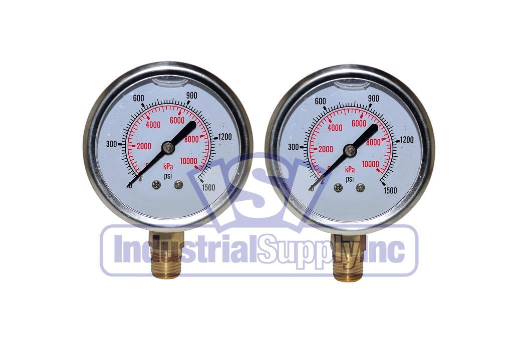 "0-1500PSI Brass Stainless Steel Case 1//2/"" NPT 4/"" Pressure Gauge Lower Mnt"