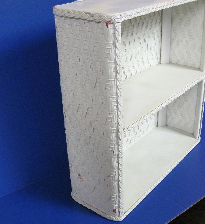 """Wicker Wall Shelf Bathroom: Large White Wicker Rattan Wall Shelf 18"""" X 18"""" Woven"""
