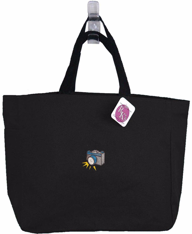 retro camera photographer monogram custom embroidered essential tote bag nwt ebay. Black Bedroom Furniture Sets. Home Design Ideas