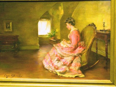 Quot Lady In Rocking Chair Quot Oil Painting By Edgar J Bissell Ebay