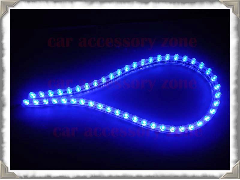 2 x bande strip lumineuse bleu 48 led 48cm ampoule 12v ebay. Black Bedroom Furniture Sets. Home Design Ideas