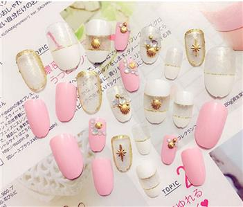Bride wedding long nail tips 24pcs transparent golden with shell ebay you are looking at this one of a kind 3d do it yourself fake nails set so gorgeous shinning and beauiful highest quality available with no harm to the solutioingenieria Images