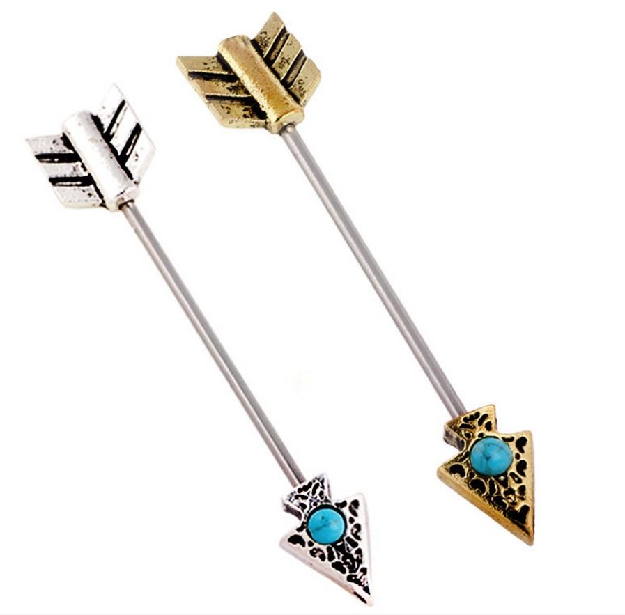 14G Industrial Barbell Earring Tribal Arrow Cartilage 5PCS Hot Piercing Jewelry
