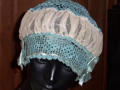 Victorian Sleep Bonnet Blue Crochet Netting Satin Trim