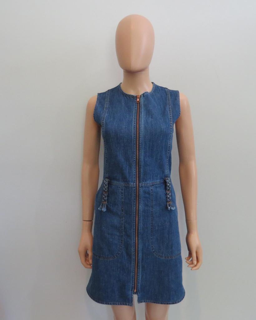 NWT See by Chloe bluee Washed Indigo Braid Trim Zipper Sleeveless Dress 34  385