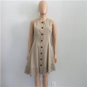 908a3e75603533 NWT Derek Lam 10 Crosby Khaki Sleeveless Dress w  Scalloped Hem Size ...