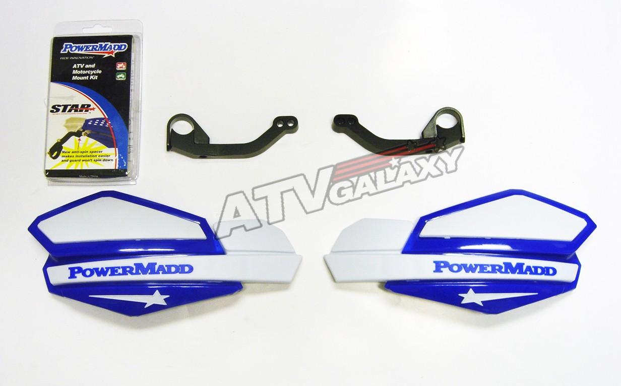 Powermadd Blue//White Star Handguards /& Mount Kit Off-Road Motorcycles /& ATV/'s