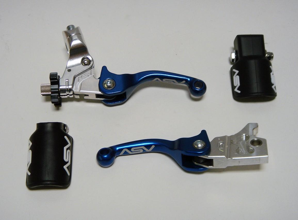 ASV F3 Pro Pack SHORTY Blue Adjustable Folding Brake Clutch Levers Yamaha YZ