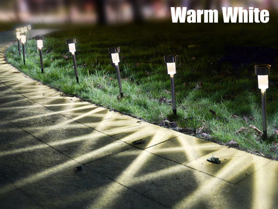 6//12//24 Outdoor Stainless Steel Solar White Lawn Garden Landscape Path LED Light