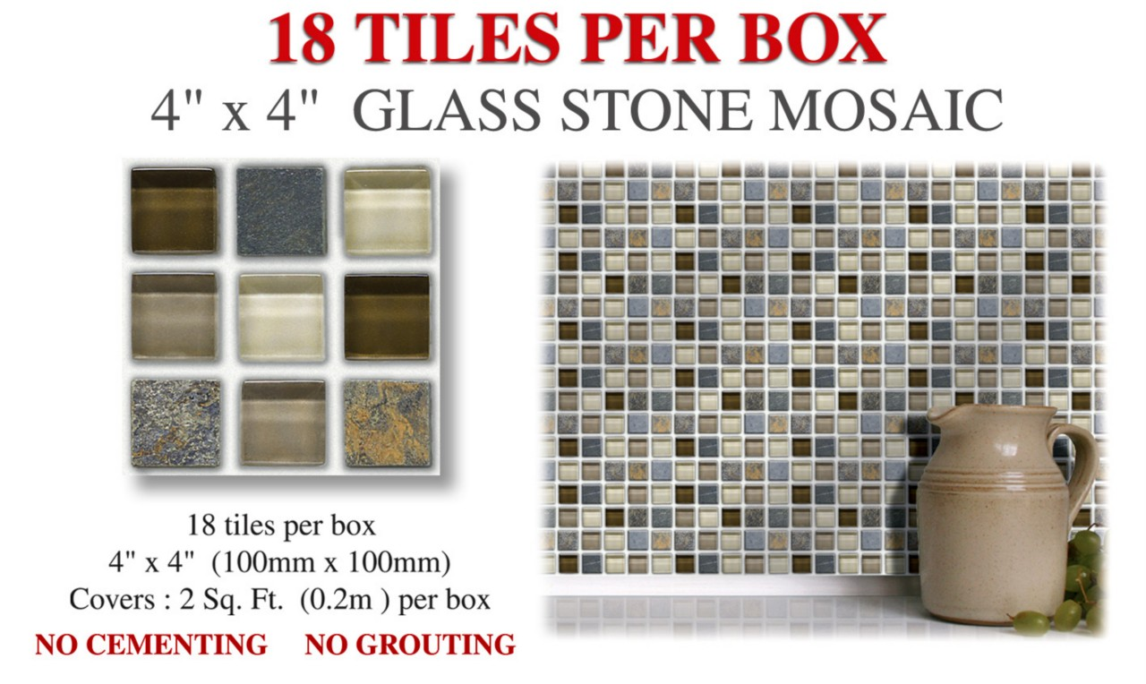 18 Peel & Stick Glass Stone Wall Tile Mosaic Stickers For