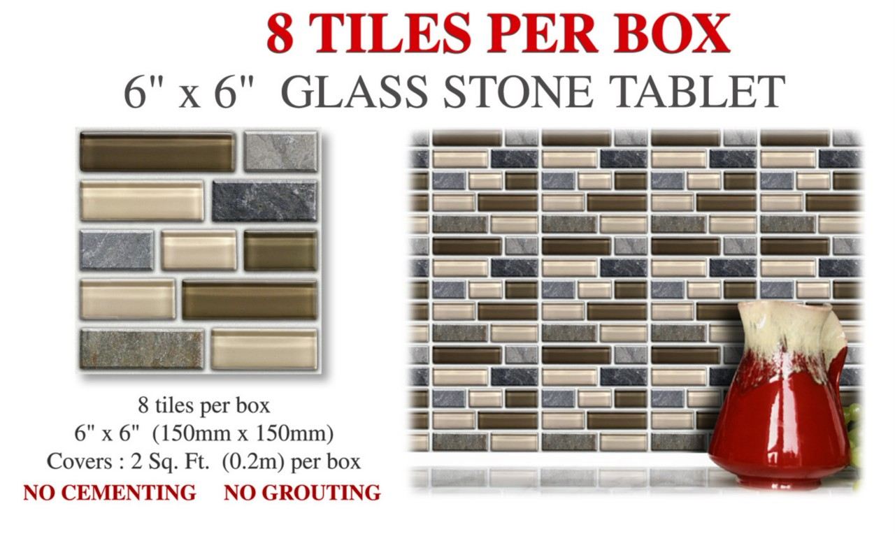 8 Peel, Stick & Go Glass Stone Tablet Wall Tile Stickers