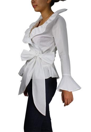 White Wrap Around Blouse Fashion Ql