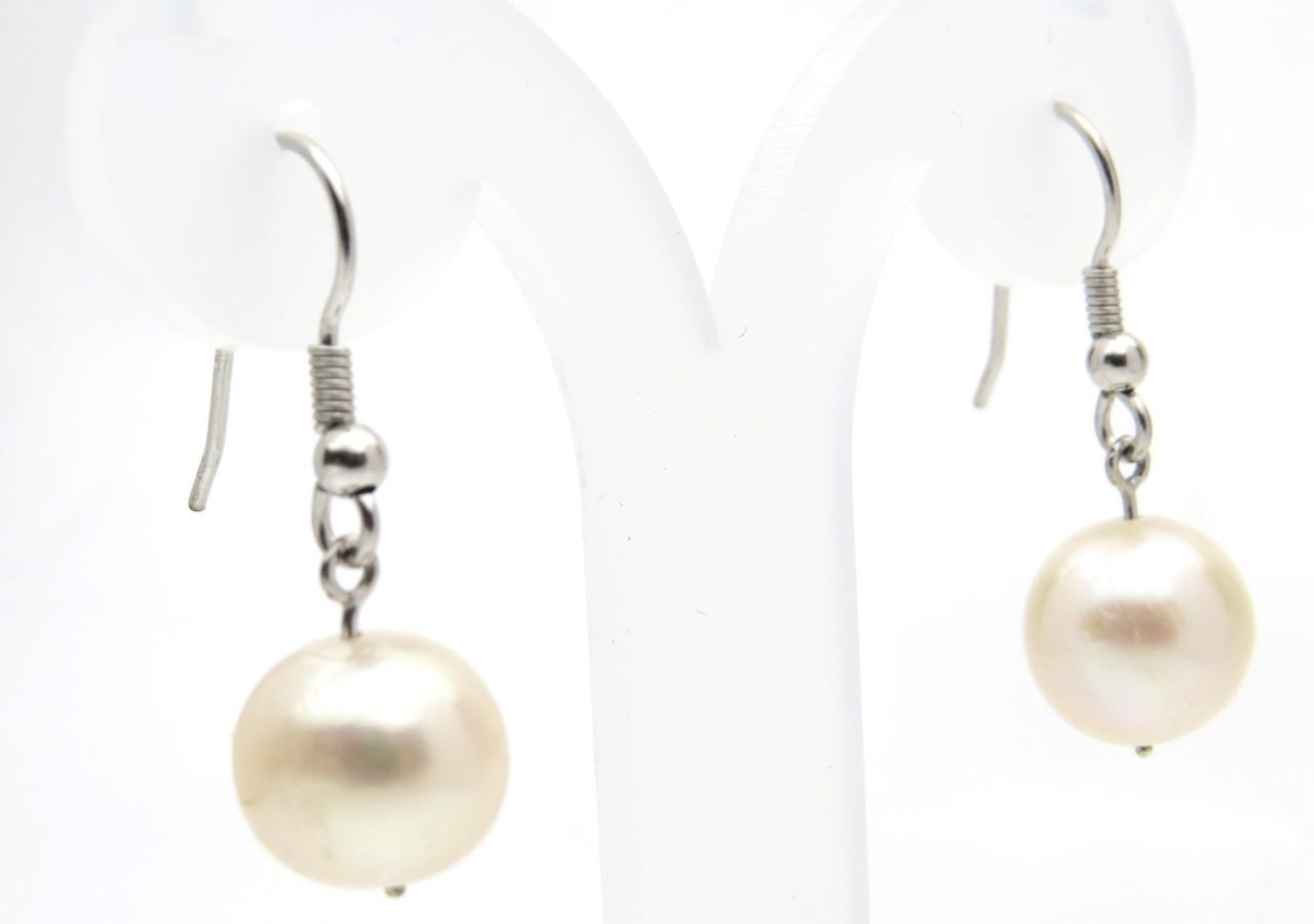 11mm Real Pearl 9ct White Gold Drop Dangle Earrings Uk Made Hallmark