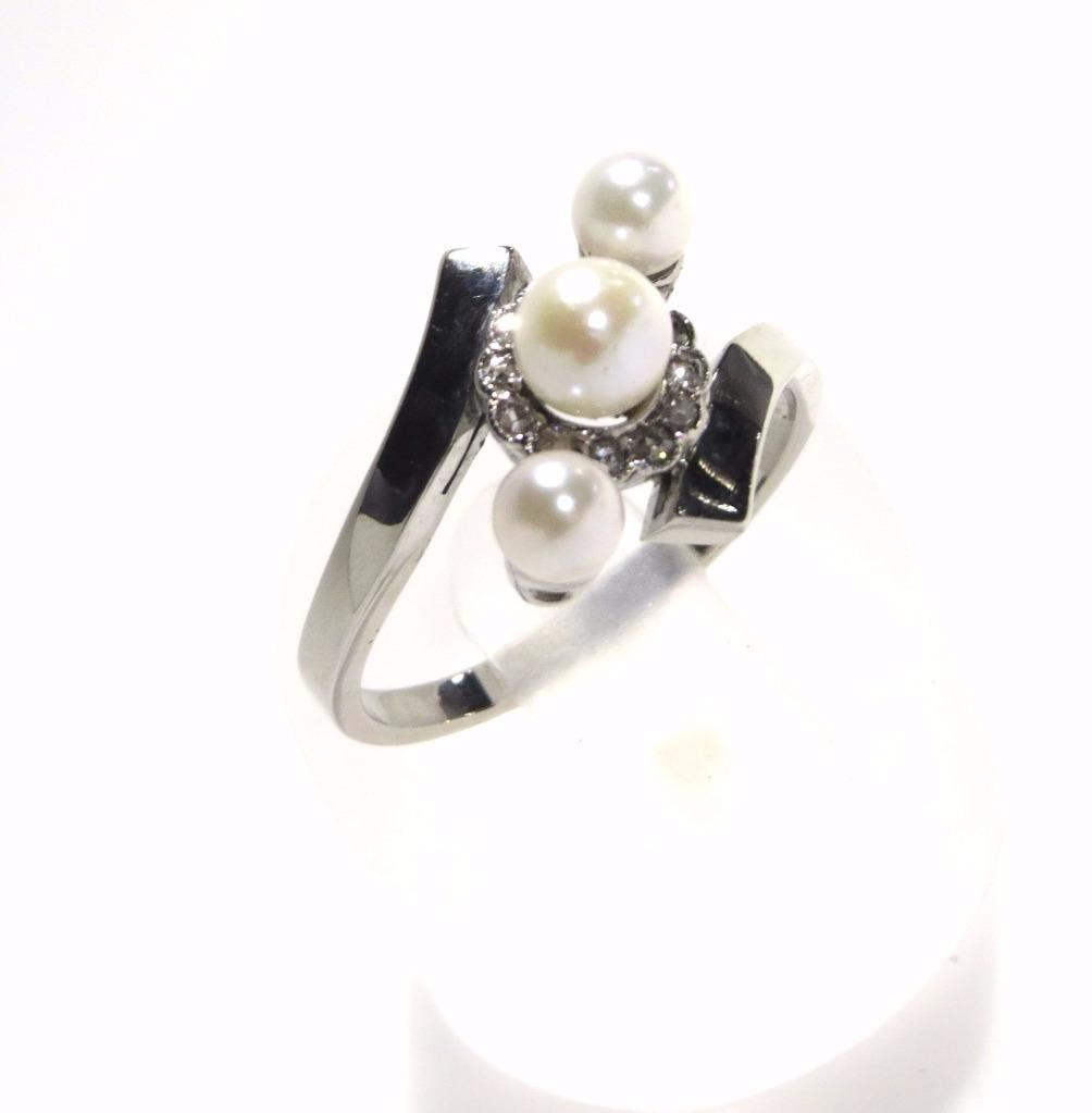 Pearl-amp-Diamond-Trilogy-Halo-Ring-9Ct-White-Gold-Larger-Finger-R-1-2-Free-p-amp-p