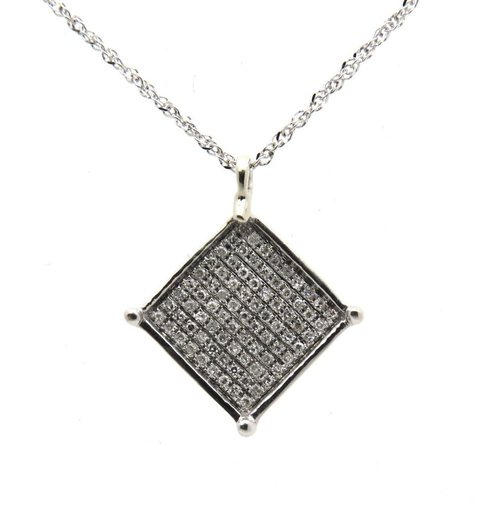 Sparkling Microset Real Diamond Pendant Chain 9ct White Gold Uk