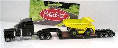 HO Accessories Norscot Peterbilt 389 Semi Truck King Lowboy Trailer Load Mint