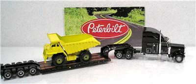 HO Accessories Norscot Peterbilt 389 Semi Truck King Lowboy Trailer Load Mint