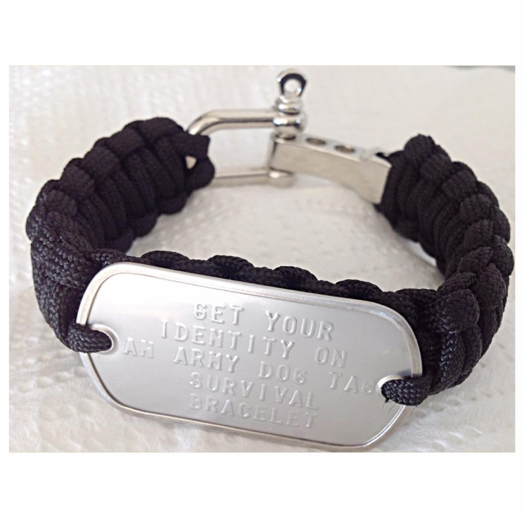 MENS PERSONALISED DOG TAG PARA CORD SURVIVAL BRACELET FREE TEXT REGISTERED POST