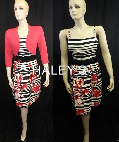Jessica Howard Petite 3pc Belted Sweater Dress Black White Red Floral