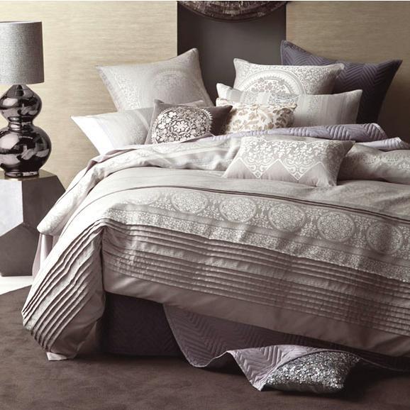 Linen House Nadina Grey Jacquard Queen Super King Quilt