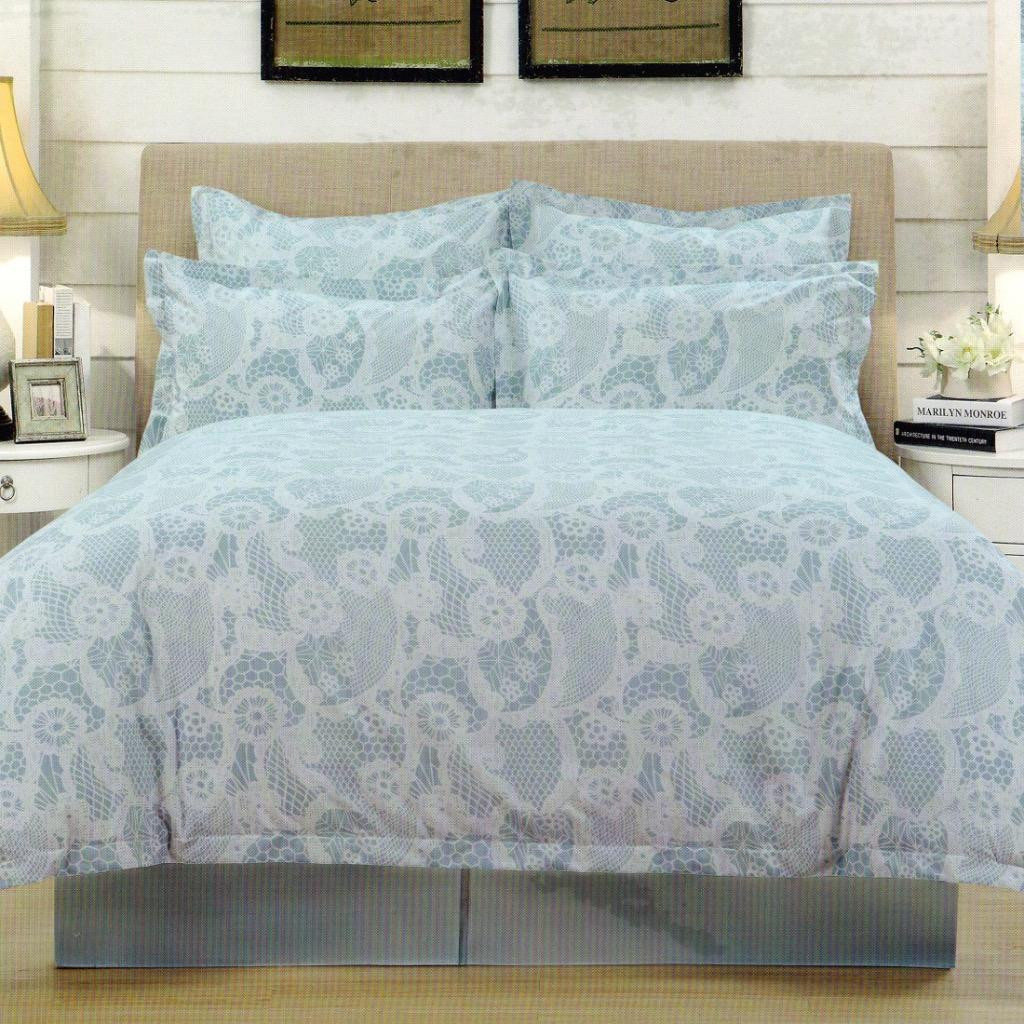 Yula Aqua White Printed Polyester Sateen Queen King Quilt