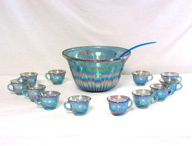 Indiana Glass Blue CARNIVAL GLASS Punch Bowl Set with 12 Cups ~Grapes