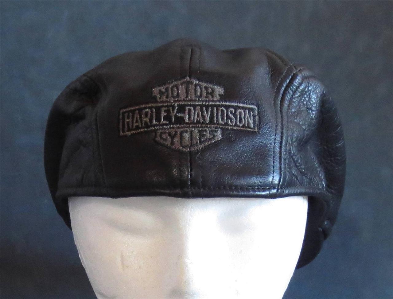 NEW HARLEY VINTAGE black LEATHER IVY NEWSBOY HAT CAP RARE ...  |Vintage Harley Davidson Hats