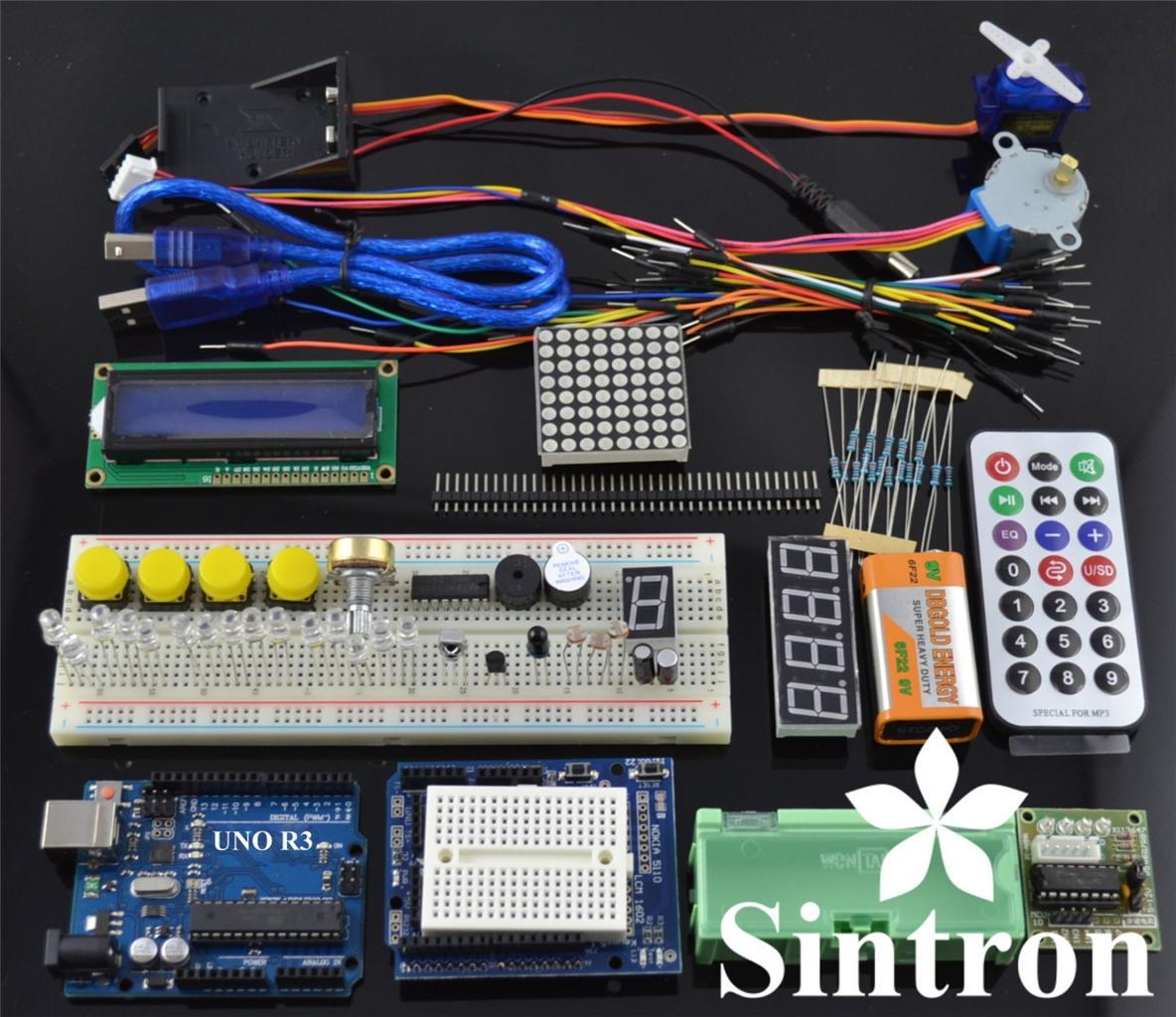 Uno R3 Starter Kit 1602 Lcd Servo Motor Dot Matrix Breadboard Led Circuit Kits For Beginners Sintron Arduino Upgrade