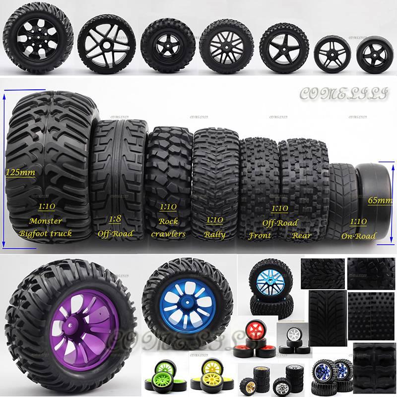 Tire Size Comparison >> 4X Wheels Rims Tires Tyres 1 10 1 8 12mm 17mm Hub HSP RC