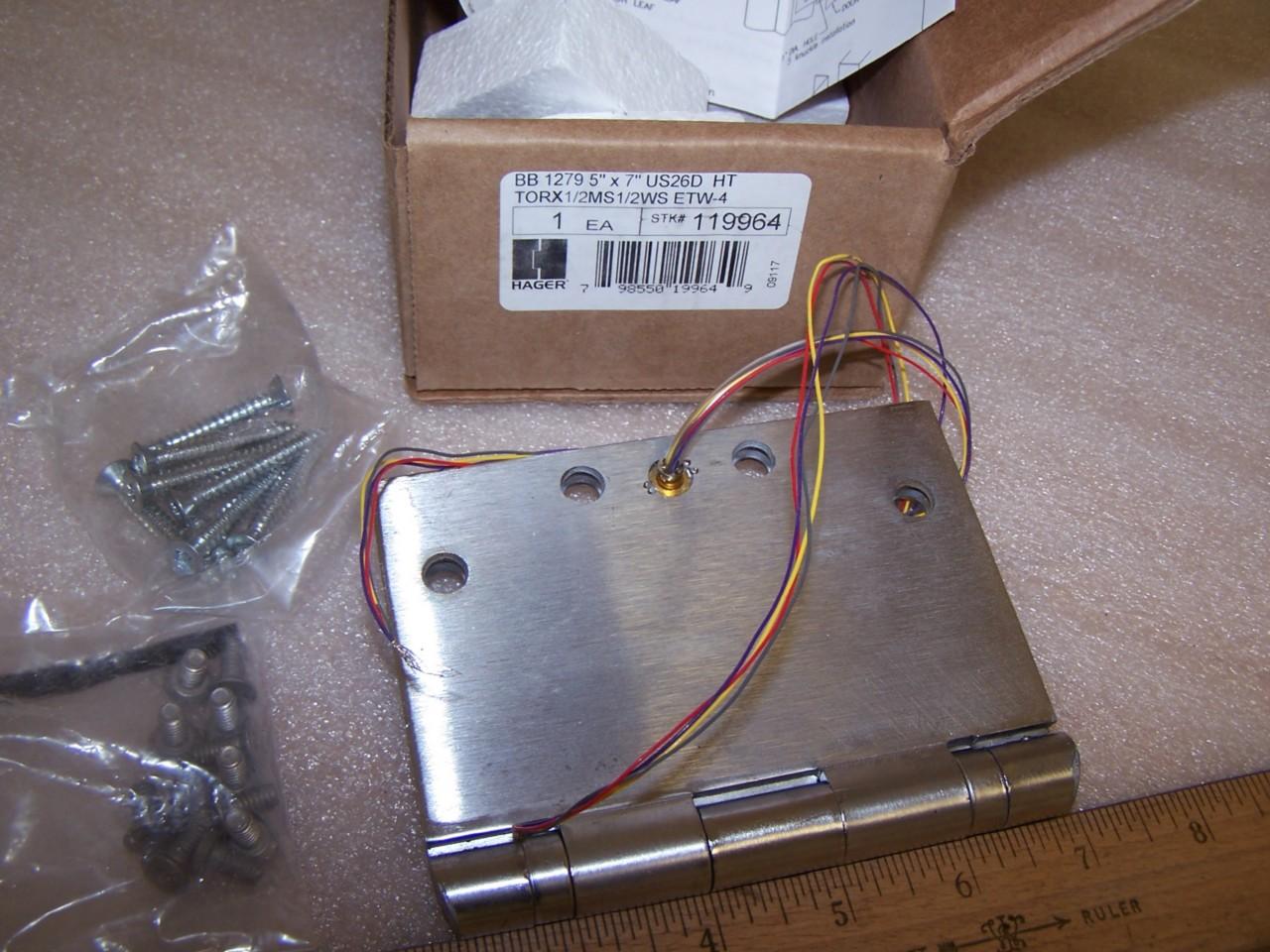 HAGER Door Hinge WideThrow Electric WTBB1279 5x7 US26D-HT-TORX1//2MS1//2WS-ETW M11